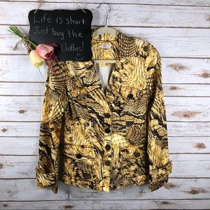 Cache animal print button up long sleeve jacket